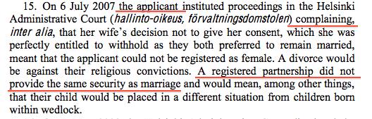 從原文判決第13段開始,是法院所整理的訴訟程序事實。在判決第15段,有記載訴訟申請人Hämäläinen主張伴侶制度並未提供等同於婚姻的保障。