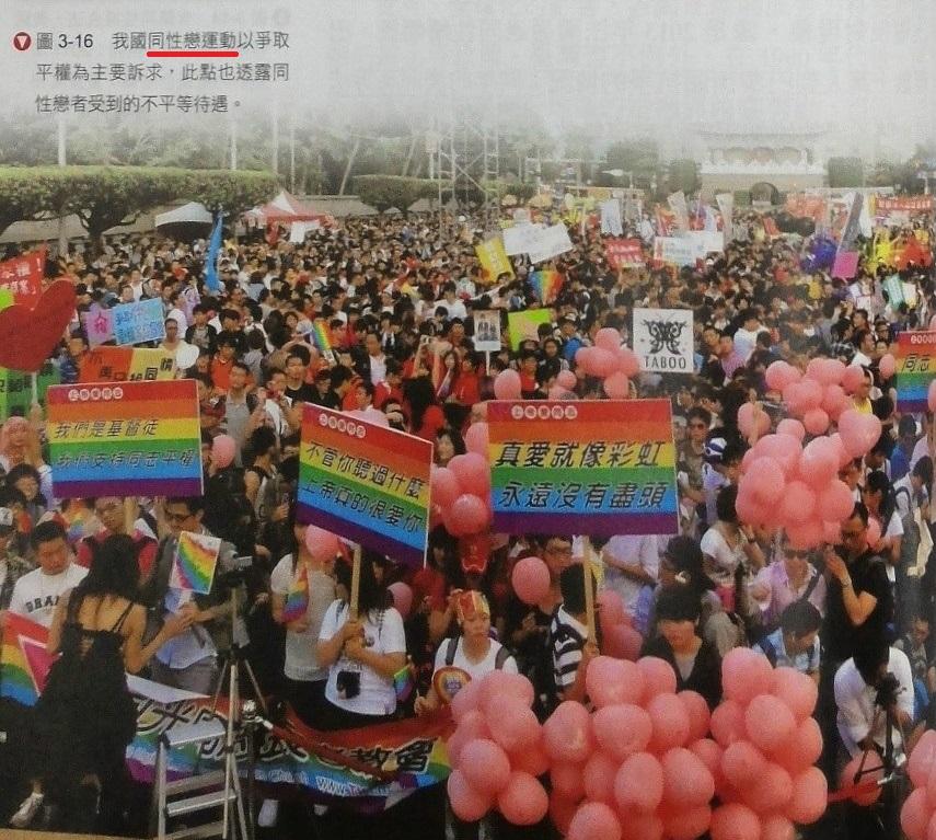 全華版高一公民與社會課本,並未忠實呈現同志大遊行背後的色情性解放文化問題。