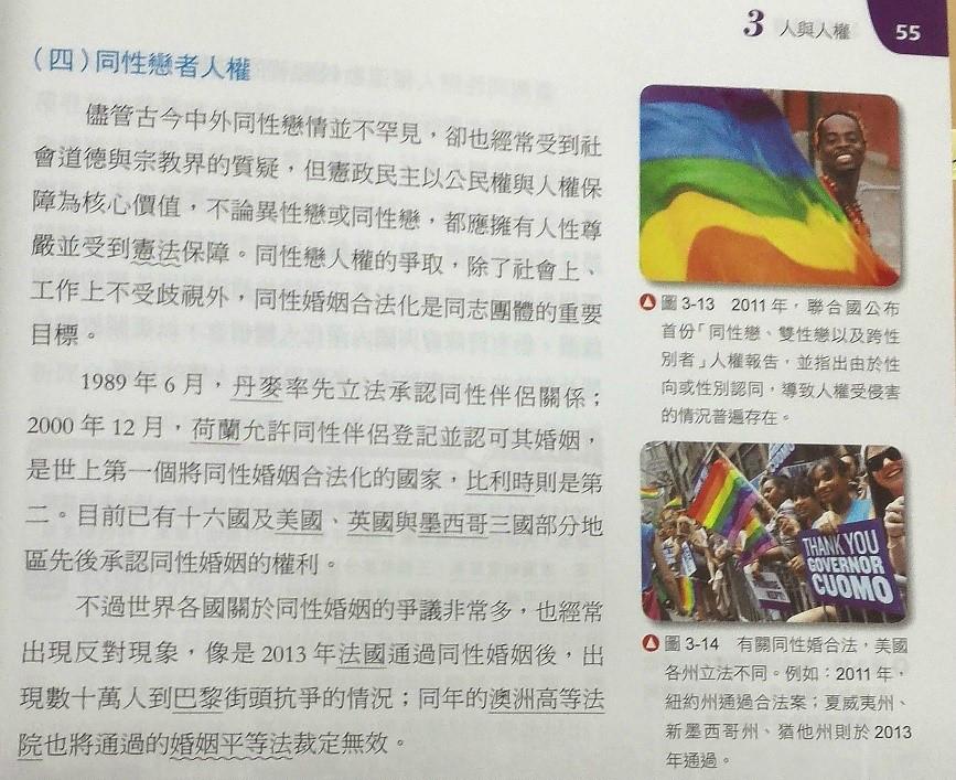 歐洲人權法院判決認定同性婚姻不是人權,但全華版高一公民與社會課本卻把同性婚姻列入人權議題。