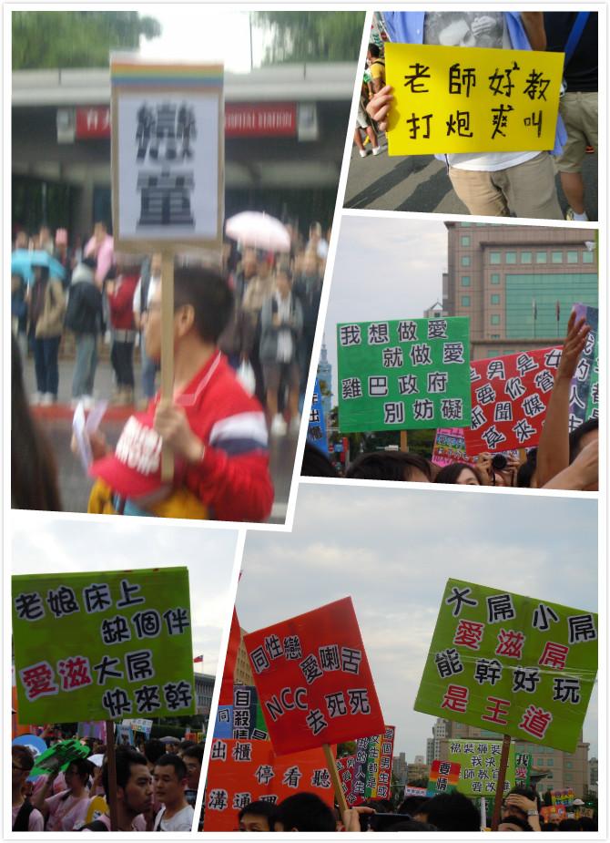 2013年同志大遊行充滿猥褻性解放標語
