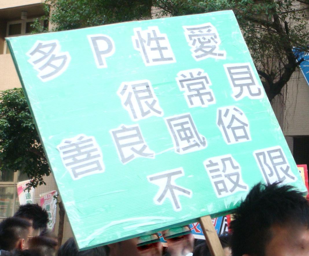 """2012年同志大游行标语""""多P性爱很常见"""""""
