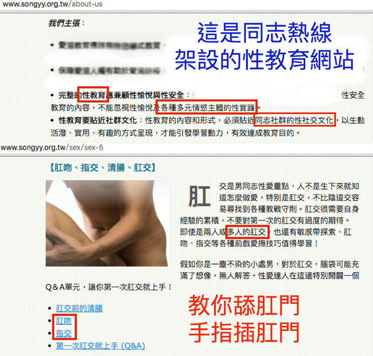 台灣也有類似團體,同志熱線旗下的「爽歪歪網站」,為了讓性教育內容能貼近「同志社群的性社交文化」,因此網站性教育的內容包括多人肛交(多P)、舔肛門(肛吻)、手指插肛門(指交)。原來 多P 是男同志的社交文化阿(恍然大悟)