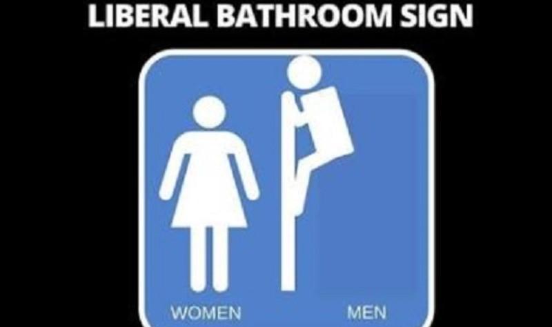 自由派推出的最新廁所告示牌,竟然鼓勵偷窺的事。(照片來源:fellowshipoftheminds.com)
